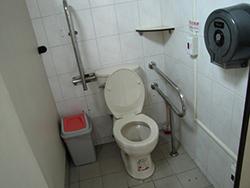 廁所盥洗室:受限於既有結構空間狹窄無法有足夠空間設置迴轉空間,輔以簡易扶手及求救鈴(馬桶旁扶手)